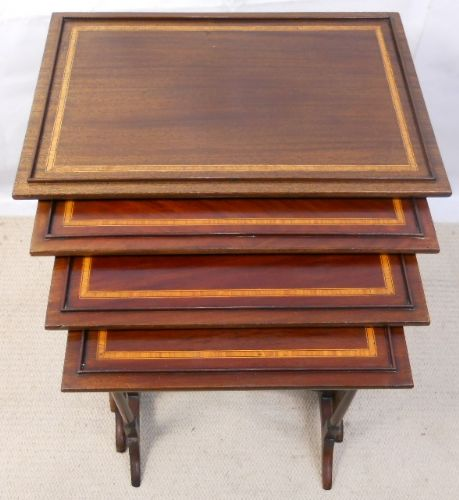 Georgian Style Inlaid Mahogany Nest of Four Tables